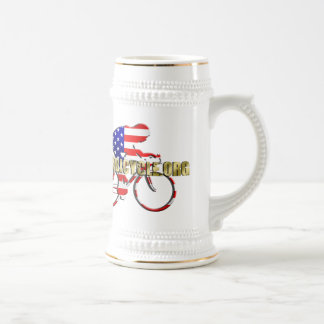 Plano Bicycle American Patriot Cycling Logo 18 Oz Beer Stein
