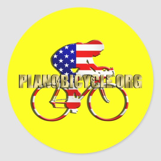 Plano Bicycle American Patriot Cycling Logo Classic Round Sticker