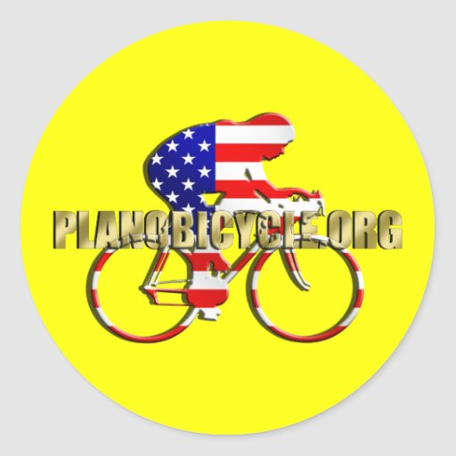 Plano Bicycle American Patriot Cycling Logo Round Stickers