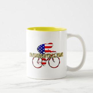 Plano Bicycle American Patriot Cycling Logo Two-Tone Coffee Mug