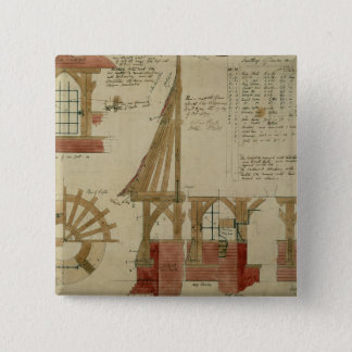 Plans for the Red House, Bexley Heath (pen and ink Pinback Button
