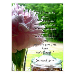 Plans for You Pink Peony Christian Encouragement Postcard