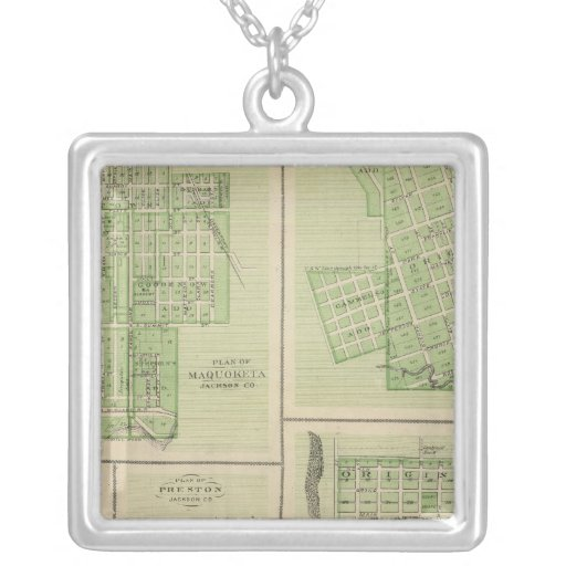 Plans of Maquoketa, Bellevue, Princeton Square Pendant Necklace