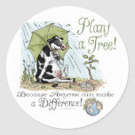 Plant a Tree Earth Day Cow Gear Round Stickers