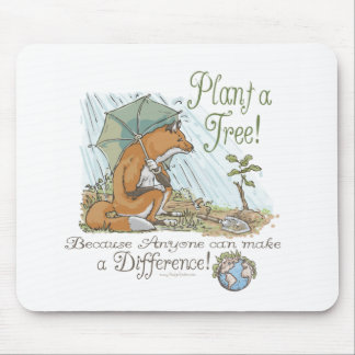 Plant a Tree Earth Day Fox Gear Mouse Pad