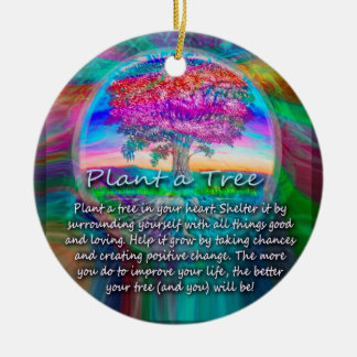 Plant a Tree of Life in Your Heart Double-Sided Ceramic Round Christmas Ornament