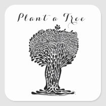 artsprojekt, quote, hippie, quotes, plant, tree, plants, care, activist, nature, spiritual, whimsy, drawing, black, ink, white, whimsey, lover, earth, day, protect, save, trees, air, quality, planet, leaves, Sticker with custom graphic design