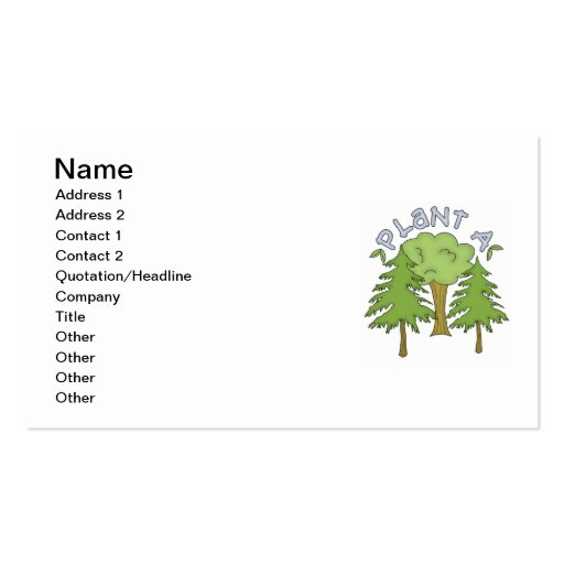 Plant a Tree T-shirts and Gifts Business Card