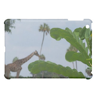 Plant and blue sky with giraffes in the background case for the iPad mini