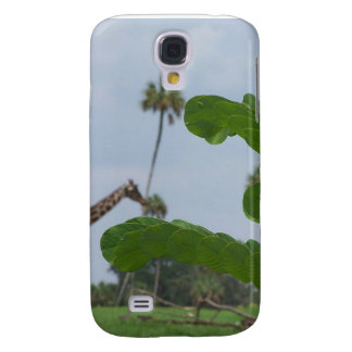 Plant and blue sky with giraffes in the background galaxy s4 cover