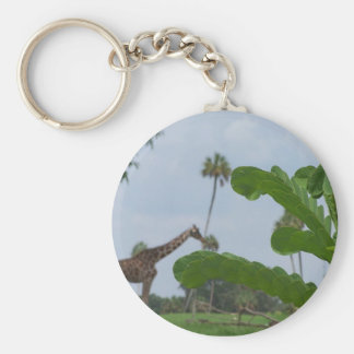 Plant and blue sky with giraffes in the background keychain