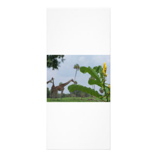 Plant and blue sky with giraffes in the background rack card