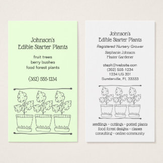 Plant and Tree Nursery Starter Plants Business Card