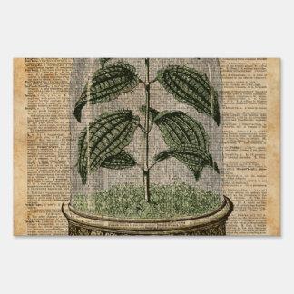 Plant Dictionary Art Nature Flowers Vintage Art Lawn Sign