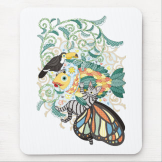 Plant fish and Butterfly cat and Toco toucan Mouse Pad