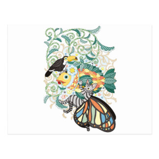 Plant fish and Butterfly cat and Toco toucan Postcard