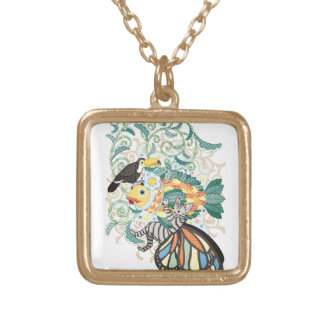 Plant fish and Butterfly cat and Toco toucan Square Pendant Necklace