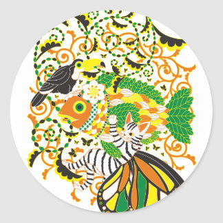 Plant fish and cat butterfly and onioohashi 5 classic round sticker