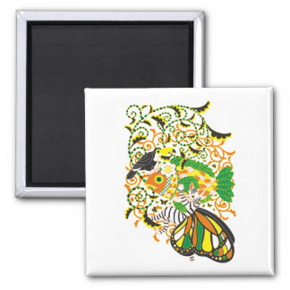 Plant fish and cat butterfly and onioohashi 5 colo refrigerator magnet