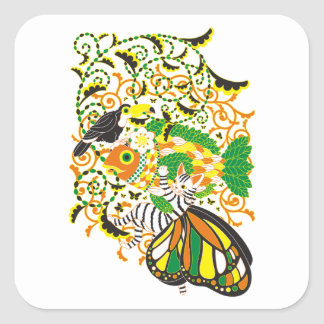 Plant fish and cat butterfly and onioohashi 5 square sticker