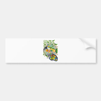 Plant fish and cat butterfly and onioohashi (Plant Bumper Sticker