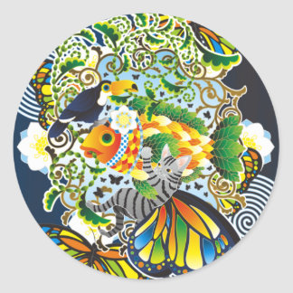 Plant fish and cat butterfly and onioohashi (Plant Classic Round Sticker