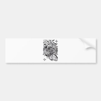 Plant fish and cat butterfly and onioohashipen画 bumper sticker