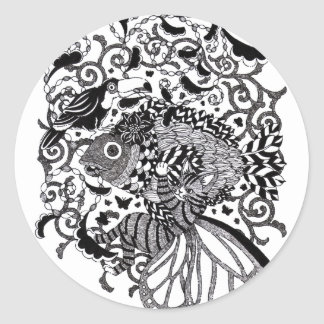 Plant fish and cat butterfly and onioohashipen画 classic round sticker
