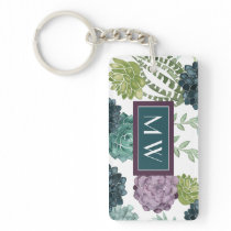 Plant Happiness Collection Succulent Pattern Keychain
