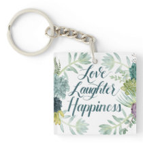 Plant Happiness | Love Laughter Happiness Keychain