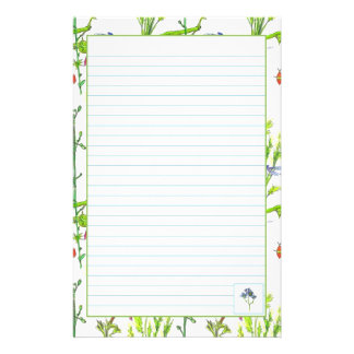 Plant Illustration Watercolor Vegetables Lined Stationery