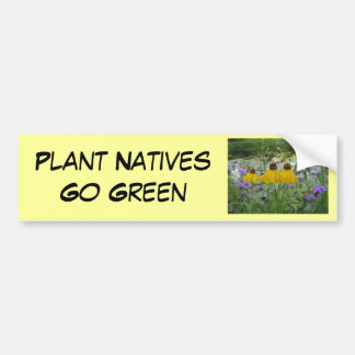 Plant Natives Go Green Verbena Bumper Sticker