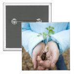 Plant seedling 2 inch square button