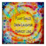 Plant Smiles Cheerful Inspirational Poster