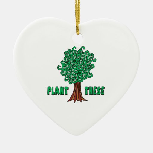 Plant Trees Double-Sided Heart Ceramic Christmas Ornament