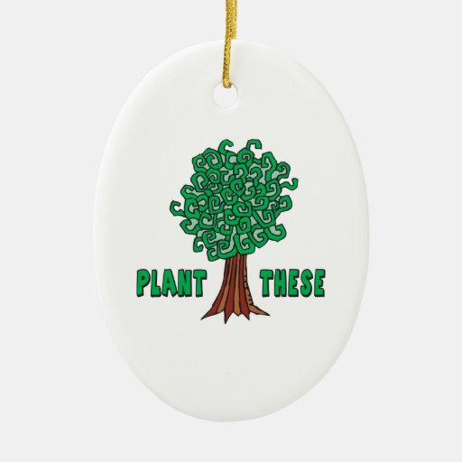 Plant Trees Double-Sided Oval Ceramic Christmas Ornament