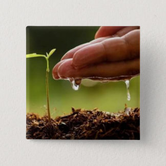 Plant trees pinback button
