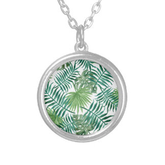 Plant Tropical Botanical Palm Leaf Silver Plated Necklace