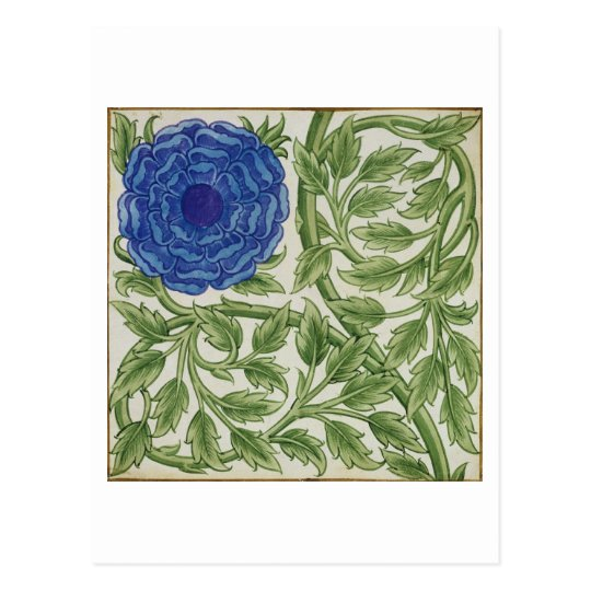 Plant with a blue flower (w/c on paper) postcard