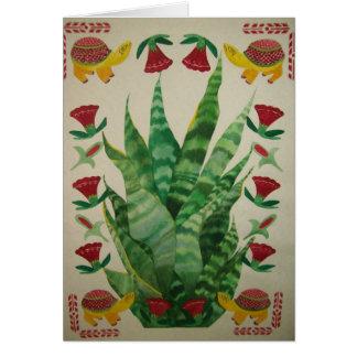 Planta abstracta con las tortugas y los tulipanes tarjetas