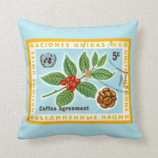 Planta azul del café del café del vintage cojin