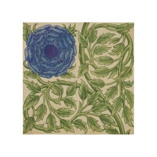 Planta con una flor azul (w/c en el papel) impresión en madera
