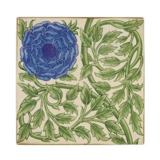 Planta con una flor azul (w/c en el papel)