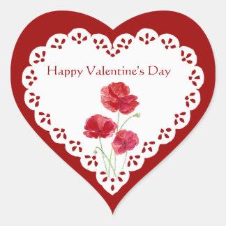 Planta de jardín roja de la amapola del el día de pegatina en forma de corazón