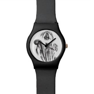 Planta de jarra carnívora de la cobra del vintage reloj de mano