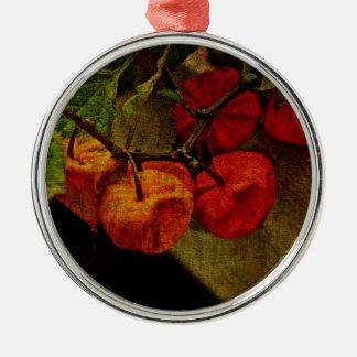 Planta de linterna china con la fruta adorno navideño redondo de metal