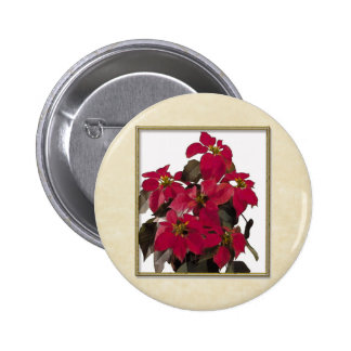 Planta de Pointsettia del navidad en marco del oro Pin Redondo De 2 Pulgadas
