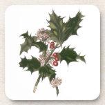 Planta del acebo del navidad del vintage con las posavaso