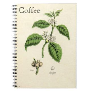Planta del café del vintage libro de apuntes