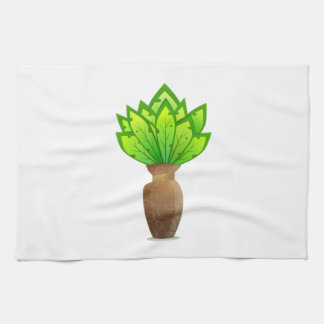 Planta en florero toallas de cocina